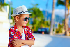 Cute fashionable boy kid on summer vacation Stock Photography