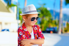 Cute fashionable boy kid on summer vacation Royalty Free Stock Photos