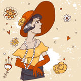 Cute fashionable doodle girl with cocktail Royalty Free Stock Photo