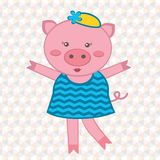 Cute fashionable pig Stock Photos