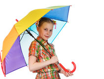 Cute fashionable teen girl with iridescent umbrella Stock Image