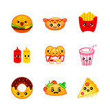 Cute Fast-food Icons Royalty Free Stock Photography