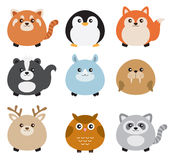 Cute Fat Animal Set stock illustration