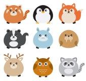 Cute Fat Animal Set. Illustration of cute chubby animals including red panda, penguin, fox, skunk, rhino, walrus, deer, owl, and raccoon Royalty Free Stock Photos
