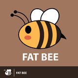 Cute fat bee symbol icon Stock Image