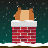 Cute fat big reindeer stuck in chimney Royalty Free Stock Images