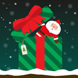Cute fat big Santa Claus come out of gift box Stock Image