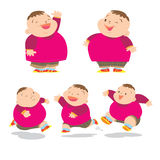 Cute fat boy charater many action. Vector of Cute fat boy cartoon character many action Royalty Free Stock Image