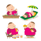Cute fat boy eating action. Vector of Cute fat boy cartoon character many action Stock Images