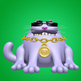 Cute fat cat in black glasses and golden medallion. 3D illustration. Royalty Free Stock Photo