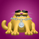 Cute fat cat in black glasses and silver medallion. 3D illustration. Stock Image