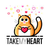 Cute fat cat holding heart in paws. Saint Valentine Day design greeting card. Flat line style royalty free stock images