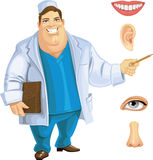 Cute fat doctor showing on part of the face Stock Image