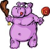 Cute fat greedy hippo Royalty Free Stock Image