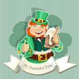 Cute fat Leprechaun with a pot of ale froth Royalty Free Stock Images