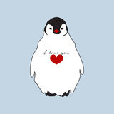 Cute fat penguin with red heart shape and I love you word illustration design Royalty Free Stock Photos