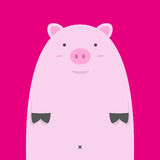 Cute fat pink pig Royalty Free Stock Image