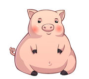 Cute fat pink piglet Royalty Free Stock Image