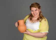 Cute fat woman Stock Photo
