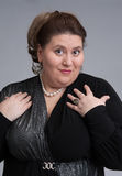 Cute fat woman expression Royalty Free Stock Image
