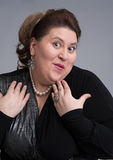 Cute fat woman expression Stock Image