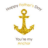 Cute Father`s Day card with big glitter anchor. Isolated on white background Royalty Free Stock Images