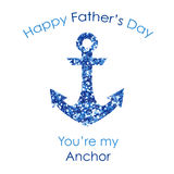 Cute Father`s Day card with big glitter anchor. Isolated on white background Royalty Free Stock Image
