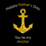 Cute Father`s Day card with big glitter anchor. Isolated on white background Royalty Free Stock Photo
