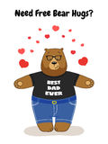 Cute Father`s Day card with Dad Bear free hugs Royalty Free Stock Photo