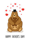 Cute Father`s Day card with Dad Bear and his baby Stock Photo