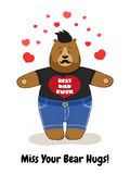 Cute Father`s Day card with Dad Bear waiting for hugs Royalty Free Stock Photo