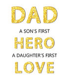 Cute Father`s Day card with golden glitter letters. For your decoration Royalty Free Stock Photo