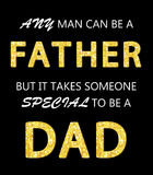 Cute Father`s Day card with golden glitter letters. For your decoration Royalty Free Stock Photography