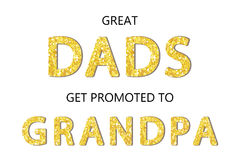 Cute Father`s Day card with golden glitter letters. For your decoration Stock Photo