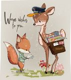 Cute fawn and fox with letter Stock Photography