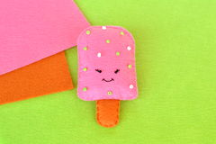 Cute felt ice cream toy. Felt food pattern. Crafts felt food. Easy fabric crafts for kids. Summer kids background Royalty Free Stock Photo