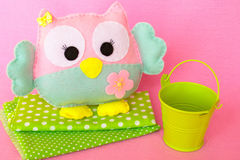 Cute felt owl toy. Simple felt sewing crafts for kids Stock Photo