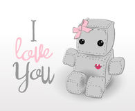 Cute felt robot girl plush toy. With heart Valentines Day love and sitting. Robot with ribbon, robot illustration on a light background, lettering Royalty Free Stock Photo