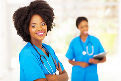African hospital workers. Cute female african hospital workers portrait royalty free stock photography