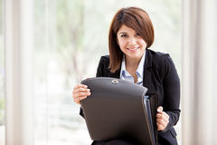 Cute female architect at work Royalty Free Stock Photography
