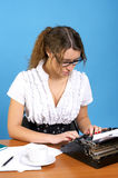 Cute female author with vintage Stock Photo