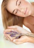 Cute female in a beauty salon Stock Image