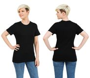 Cute female with blank black shirt Royalty Free Stock Photography
