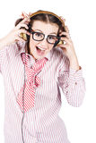 Cute Female Business Nerd Singing With Headphones. Isolated Happy Smiling Female Business Nerd Singing To Rock Music With Earphones Royalty Free Stock Photography