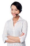 Cute female call centre executive Stock Photos