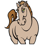 Cute female cartoon horses. Over white background in  format Stock Image