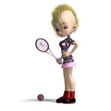 Cute female cartoon punk is a tennis player. 3D Stock Photography