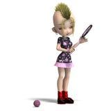 Cute female cartoon punk is a tennis player. 3D royalty free illustration