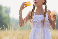 Cute female child having fun on meadow Stock Image