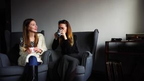Cute female colleagues talk and laugh at cup of tea during break from work and sit in gray armchairs in stylish cafe. Funny young women, employees chat together stock footage